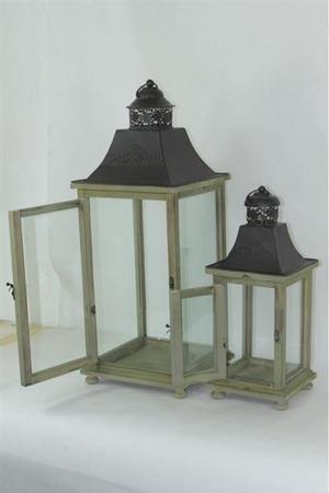 Lampion drewniany komplet