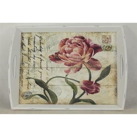 Taca drewniana z motywem kwiatowym 101849