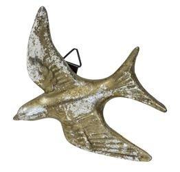 Dekoracja Ścienna Złoto Srebrny Ptak Jaskółka