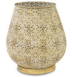 Duży Lampion Metalowy Ozdobny w Kwiaty Złoty