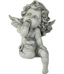 Figurka Anioł Posyłający Całusa Szary 16x11x8 cm