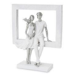 Figurka Para ramka srebrny biały siedzący 25x21cm