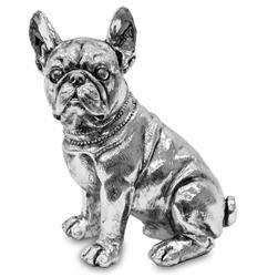 Figurka Srebrna Pies Siedzący Buldog 21x17cm
