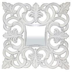 Kwadratowa Stylowa Rama Lustro Biały 101x101 cm