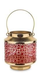 Lampion metalowy, złoty,czerwony H: 26 cm
