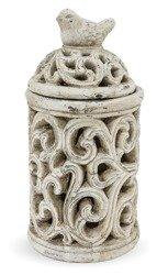 Lampion zdobiony kamień ptak Ceramika H:24,5cm