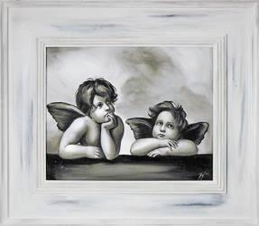 """Obraz """"Anioły"""" ręcznie malowany 66x76cm"""