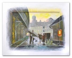 Obraz - Architektura - olejny, ręcznie malowany 46x56cm