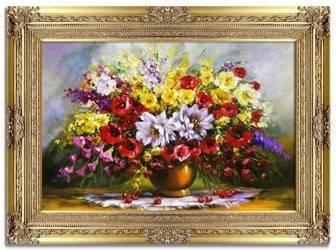 """Obraz """"Bukiety mieszane """" ręcznie malowany 90x120cm"""
