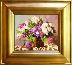 """Obraz """"Bzy"""" ręcznie malowany 43x48cm"""