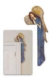 Obraz Duży Anioł Na Desce Nad Drzwi Niebieski