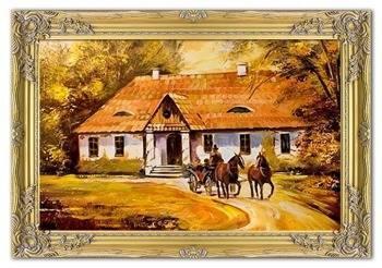 Obraz - Dworki, mlyny, chaty, - olejny, ręcznie malowany 75x105cm