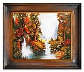 """Obraz """"Dworki, mlyny, chaty,"""" ręcznie malowany 55x65cm"""