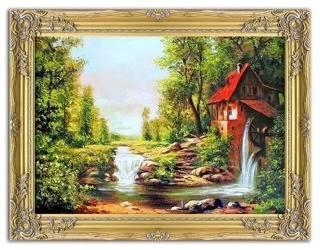 """Obraz """"Dworki, mlyny, chaty,"""" ręcznie malowany 63x83cm"""