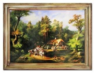 """Obraz """"Dworki, mlyny, chaty,"""" ręcznie malowany 63x84cm"""