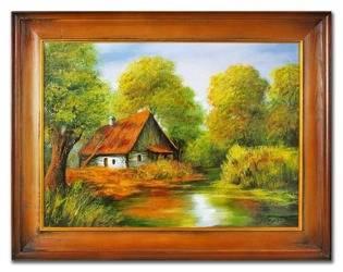 """Obraz """"Dworki, mlyny, chaty,"""" ręcznie malowany 64x84cm"""