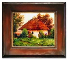 """Obraz """"Dworki, mlyny, chaty,"""" ręcznie malowany 67x77cm"""