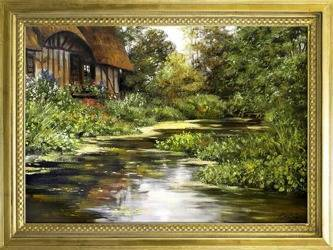 """Obraz """"Dworki, mlyny, chaty,"""" ręcznie malowany 78x108cm"""