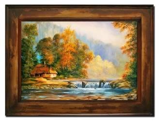 """Obraz """"Dworki, mlyny, chaty,"""" ręcznie malowany 86x116cm"""