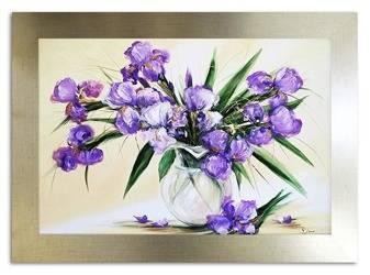 """Obraz """"Irysy"""" ręcznie malowany 75x105cm"""