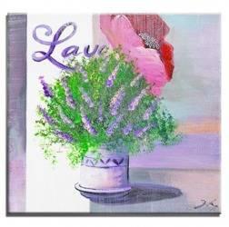 """Obraz """"Lawenda."""" ręcznie malowany 30x30cm"""