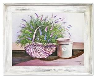 """Obraz """"Lawenda."""" ręcznie malowany 72x92cm"""