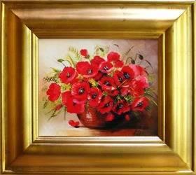 """Obraz """"Maki"""" ręcznie malowany 43x48cm"""
