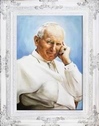 """Obraz """"Papież Jan Paweł II"""" ręcznie malowany 78x98cm"""