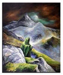 """Obraz """"Pejzaz tradycyjny"""" ręcznie malowany 100x120cm"""