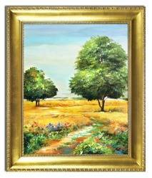 """Obraz """"Pejzaz tradycyjny"""" ręcznie malowany 53x63cm"""