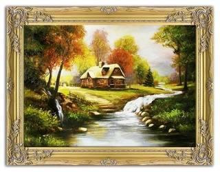 """Obraz """"Pejzaz tradycyjny"""" ręcznie malowany 63x84cm"""