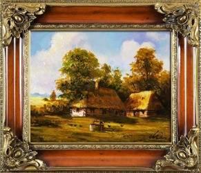 """Obraz """"Pejzaz tradycyjny"""" ręcznie malowany 65x75cm"""