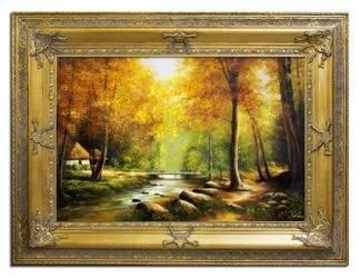 """Obraz """"Pejzaz tradycyjny"""" ręcznie malowany 91x121cm"""