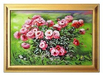 """Obraz """"Piwonie"""" ręcznie malowany 63x93cm"""