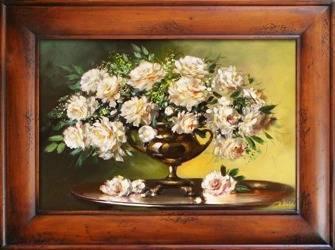 """Obraz """"Piwonie"""" ręcznie malowany 87x117 cm"""