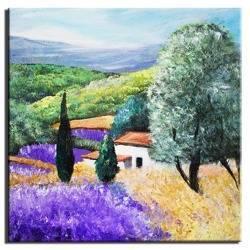 """Obraz """"Pola lawendowe"""" ręcznie malowany 30x30cm"""