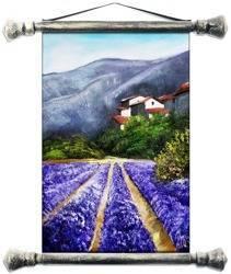 """Obraz """"Pola lawendowe"""" ręcznie malowany 37x62cm"""