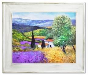 """Obraz """"Pola lawendowe"""" ręcznie malowany 61x71cm"""