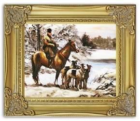 """Obraz """"Polowania"""" ręcznie malowany 28x33cm"""