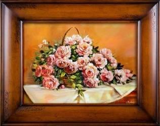 """Obraz """"Roze"""" ręcznie malowany 76x96cm"""