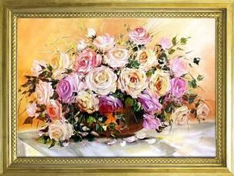 """Obraz """"Roze"""" ręcznie malowany 78x108cm"""