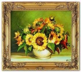 Obraz - Sloneczniki - olejny, ręcznie malowany 54x63cm