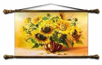 """Obraz """"Sloneczniki"""" ręcznie malowany 43x75cm"""