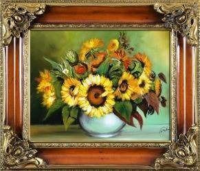 """Obraz """"Sloneczniki"""" ręcznie malowany 65x75cm"""