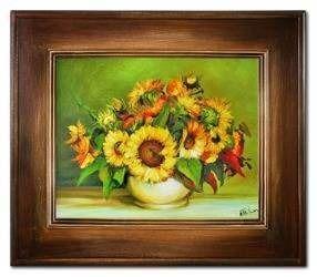 """Obraz """"Sloneczniki"""" ręcznie malowany 66x76cm"""