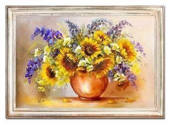 """Obraz """"Sloneczniki"""" ręcznie malowany 75x105cm"""