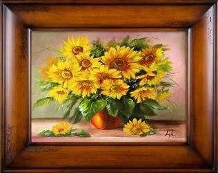 """Obraz """"Sloneczniki"""" ręcznie malowany 76x96cm"""