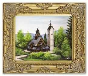 """Obraz """"Swiatynia Wang"""" ręcznie malowany 27x32cm"""