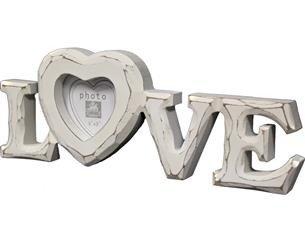 Ramka Na Zdjęcie Love Biała Drewniana 9,5x26x2