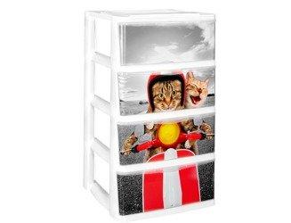 Regał NA ZABAWKI  4 szuflady SZALONE KOTY H: 75 cm